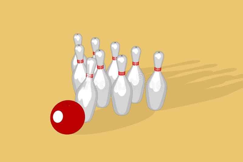 Bowlingkugel- und kegelillustration stockfotografie