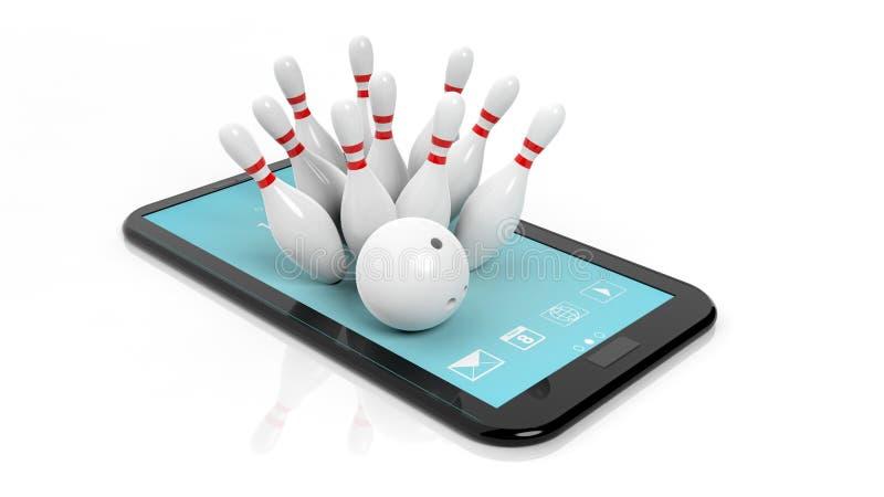 Bowlingkugel und Stifte eingestellt auf Tablettenschirm vektor abbildung