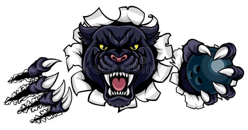 Bowlingmaskot för svart panter som bryter bakgrund vektor illustrationer