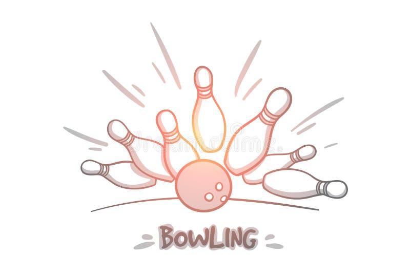 Bowlingspiel-Konzept Hand gezeichneter lokalisierter Vektor stock abbildung