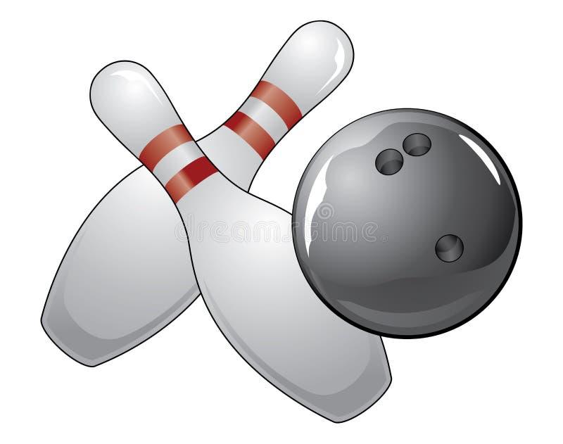 Bowlingspiel-Kugel mit zwei Stiften lizenzfreie abbildung