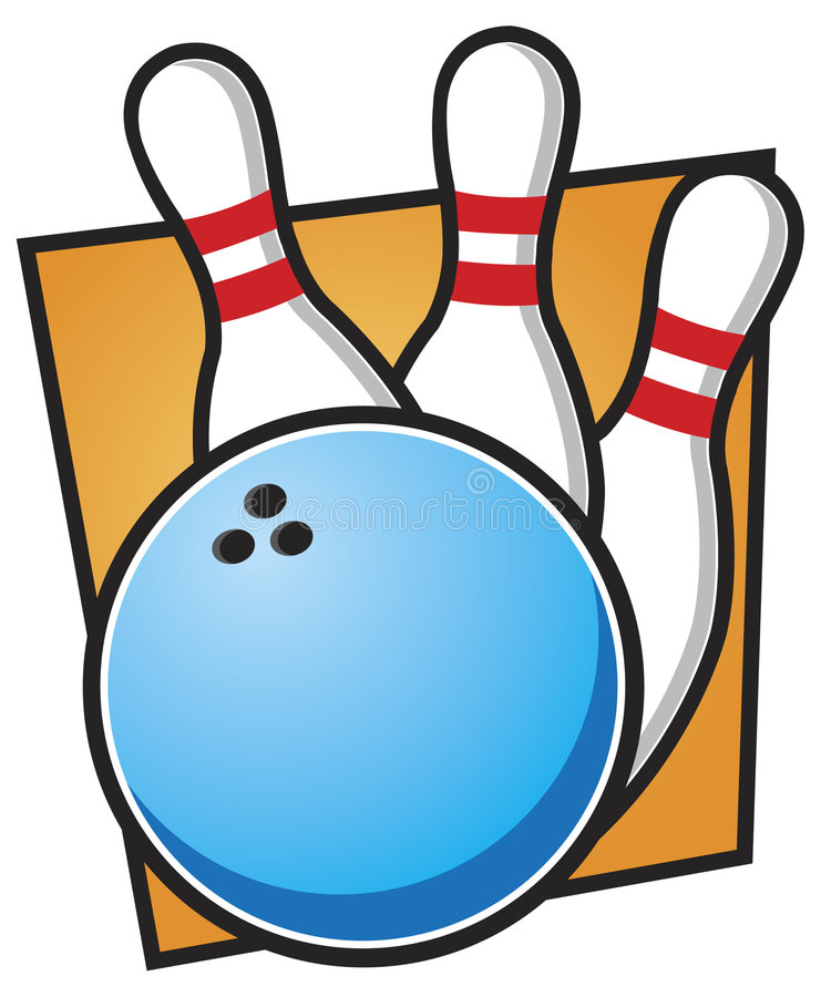 Bowlingspiel-Kugel und Stifte lizenzfreie abbildung
