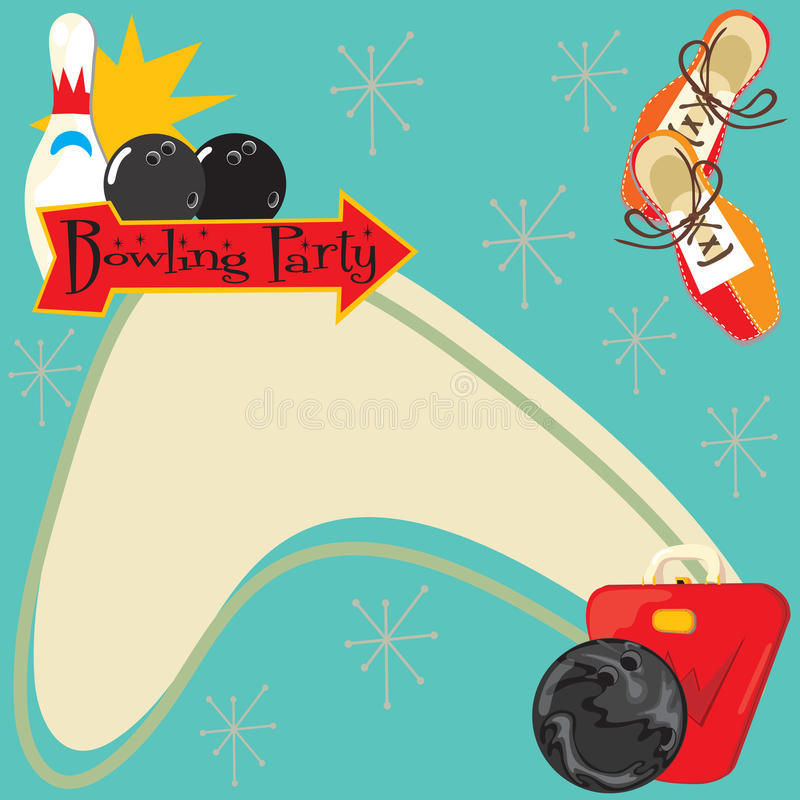 Bowlingspiel-Party-Einladung stock abbildung