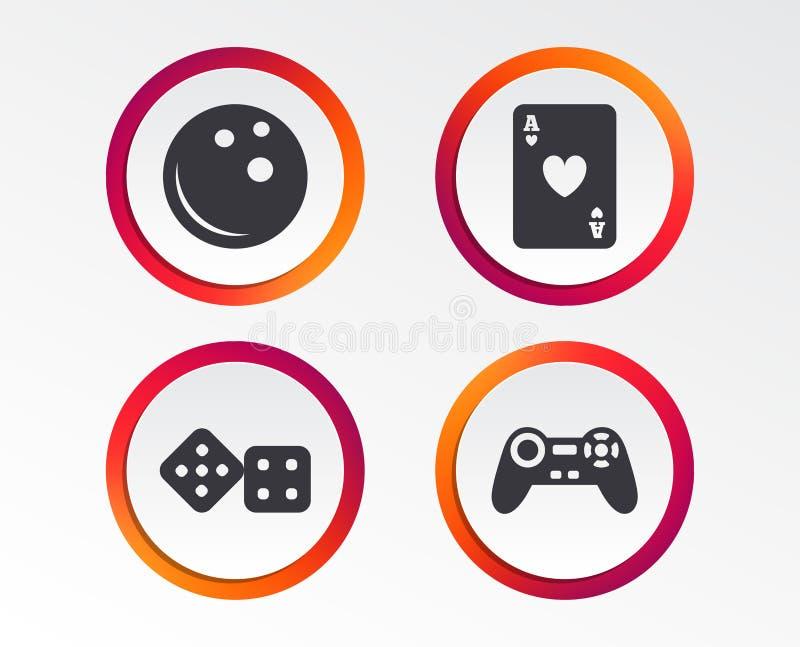 Bowlingspiel- und Kasinozeichen Videospielsteuerknüppel vektor abbildung