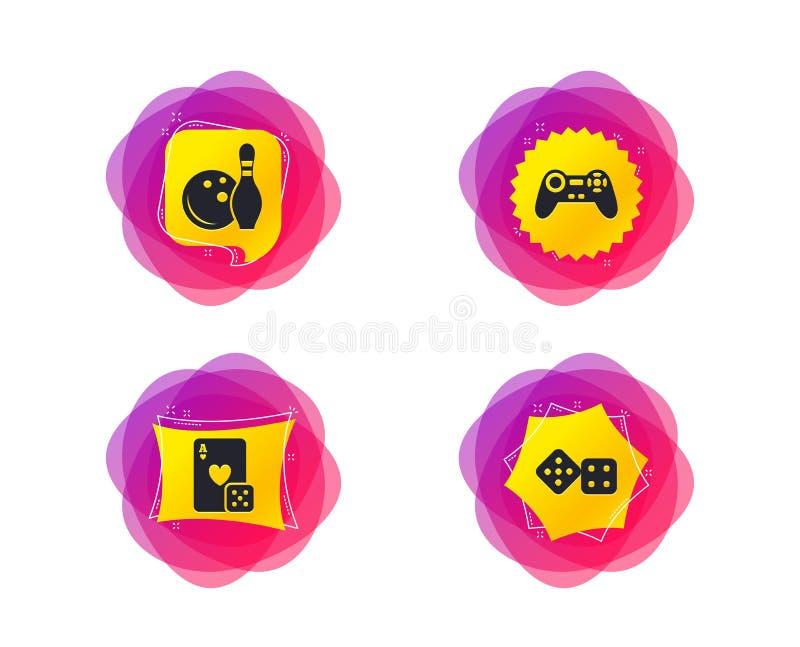 Bowlingspiel- und Kasinozeichen Videospielsteuerknüppel Vektor lizenzfreie abbildung