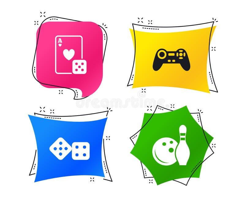 Bowlingspiel- und Kasinozeichen Videospielsteuerknüppel Vektor stock abbildung