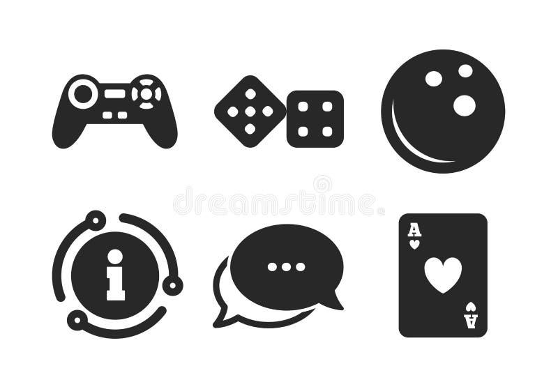 Bowlingspiel- und Kasinozeichen Videospielsteuerkn?ppel Vektor stock abbildung