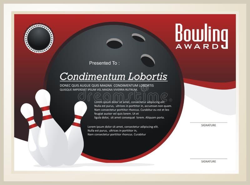 Bowlingspiel-Zertifikat-/Preisschablonenvektor vektor abbildung