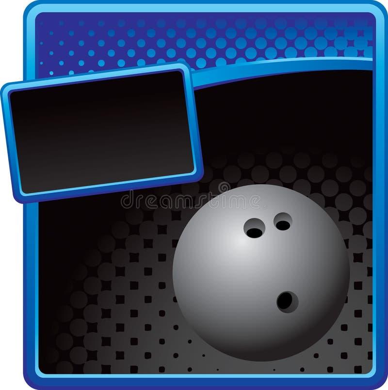 Bowlingspielkugel auf blauer und schwarzer Halbtonanzeige lizenzfreie abbildung