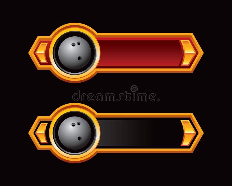 Bowlingspielkugel auf den roten und schwarzen Pfeiltabulatoren vektor abbildung