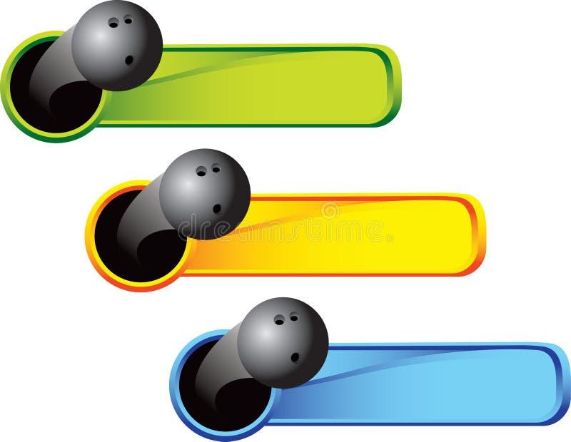 Bowlingspielkugel auf farbigen Tabulatoren vektor abbildung