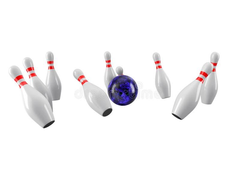 Bowlingspielkugel, die in die Stifte abbricht Wiedergabe 3d stockfotos