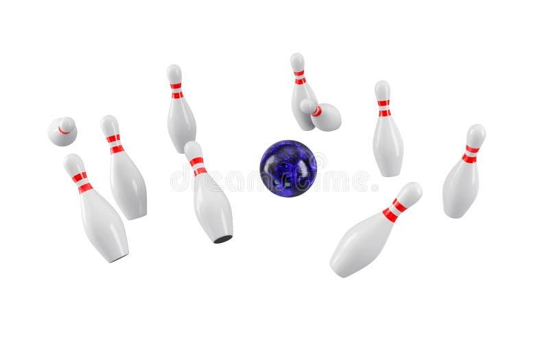 Bowlingspielkugel, die in die Stifte abbricht Wiedergabe 3d stockbilder
