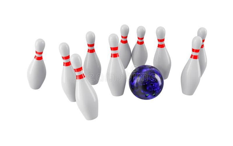 Bowlingspielkugel, die in die Stifte abbricht Wiedergabe 3d stockbild