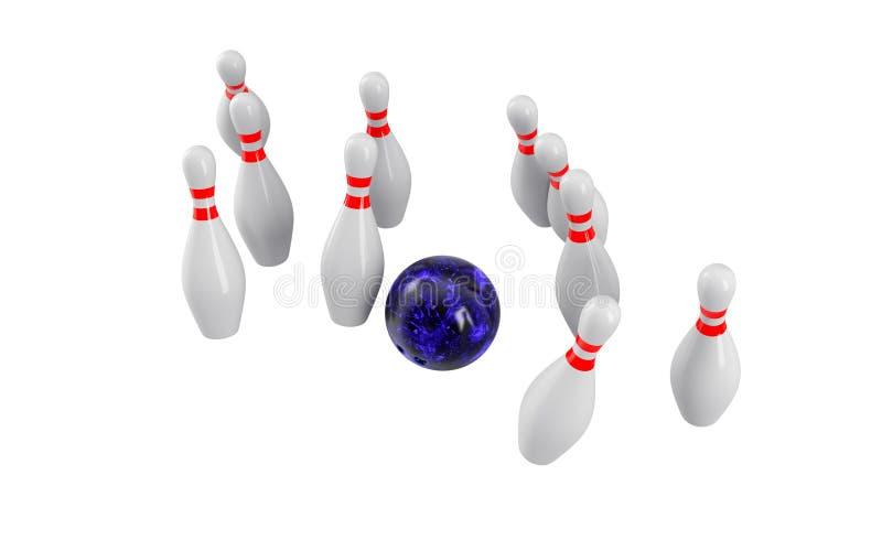 Bowlingspielkugel, die in die Stifte abbricht Wiedergabe 3d stockfotografie