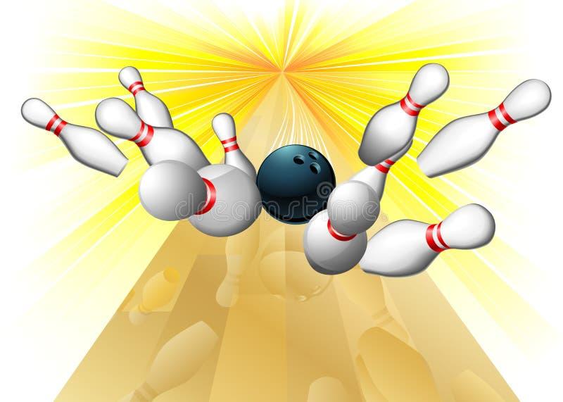 Bowlingspielkugel, die Stifte schlägt vektor abbildung