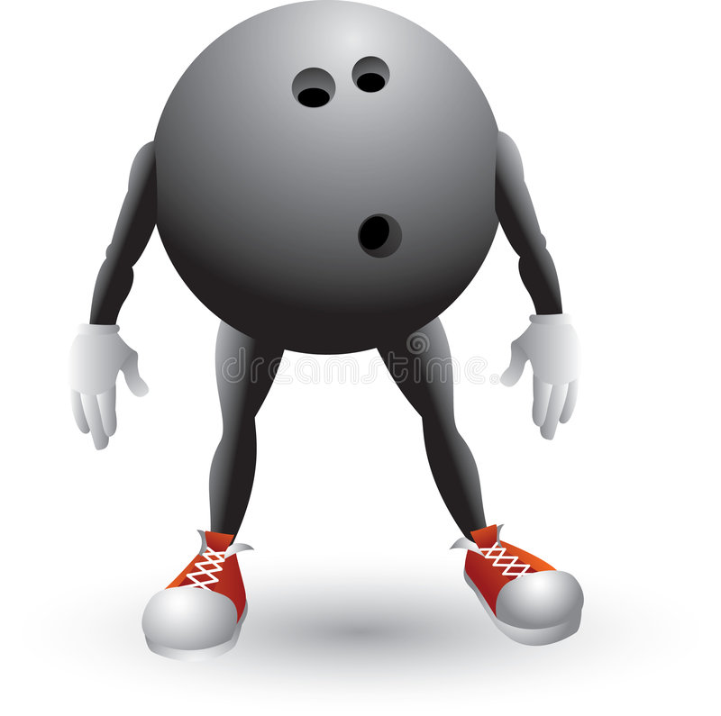 Bowlingspielkugel-Karikaturmann lizenzfreie abbildung