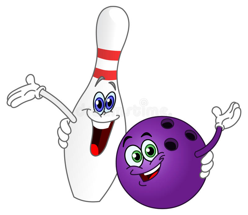 Bowlingspielkugel und -stift stock abbildung