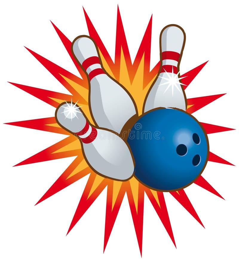 Bowlingspielkugel und -stifte lizenzfreie abbildung