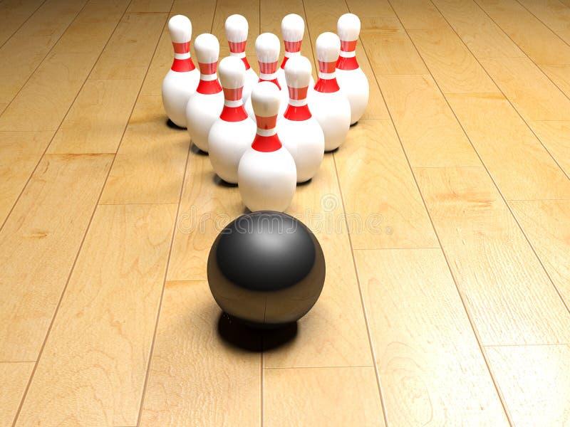 Bowlingspielschüssel und -stifte von der Holzoberfläche - Wiedergabe 3D vektor abbildung