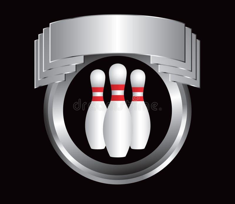 Bowlingspielstifte in der silbernen Bildschirmanzeige lizenzfreie abbildung