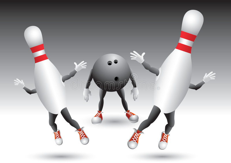 Bowlingspielstifte, die von der Bowlingspielkugel laufen vektor abbildung