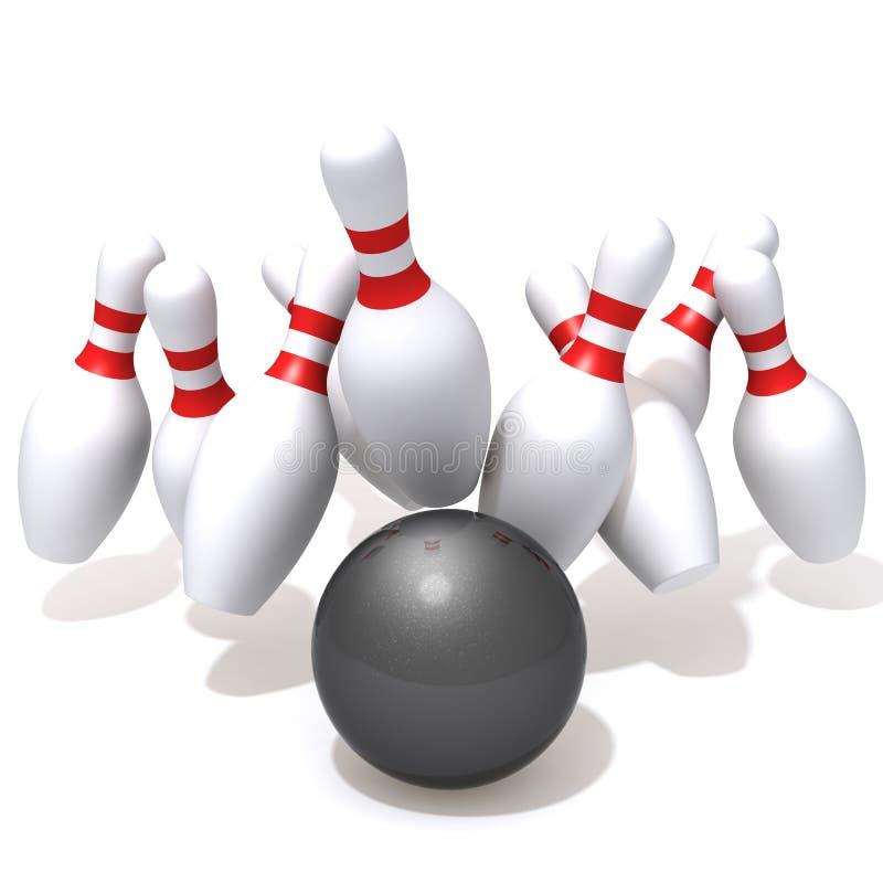 Bowlingspielstifte geschlagen durch Ball stock abbildung