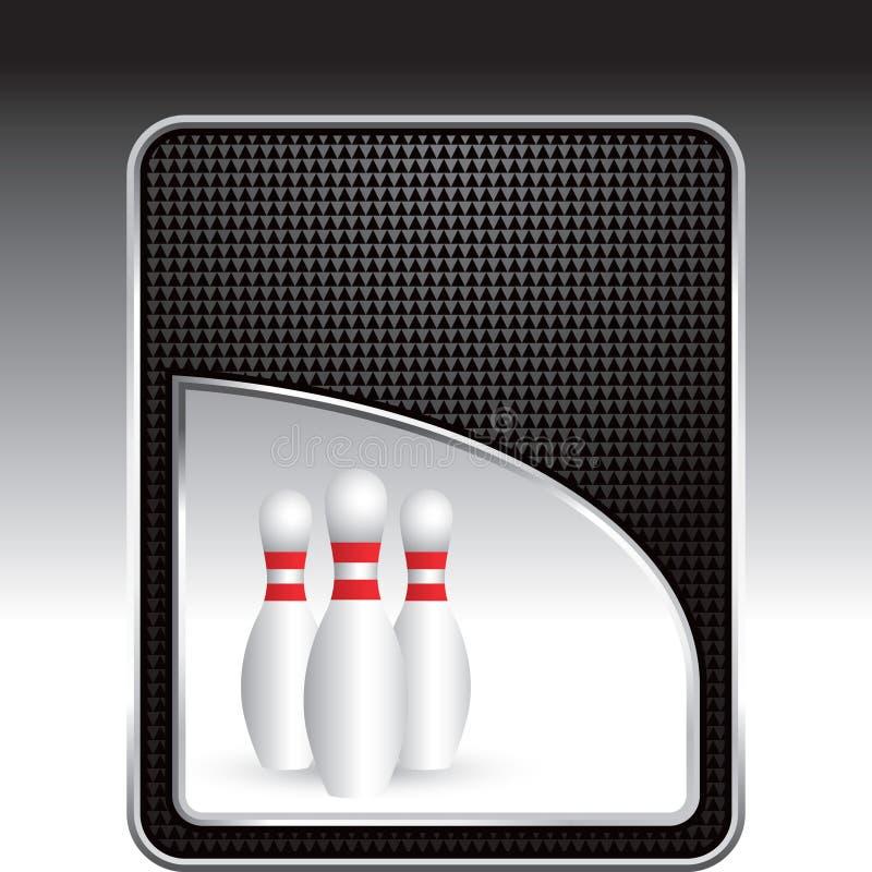 Bowlingspielstifte vom schwarzen checkered Hintergrund stock abbildung