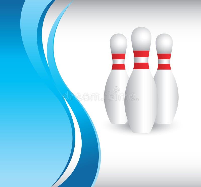 Bowlingspielstifte vom vertikalen blauen Wellenhintergrund vektor abbildung
