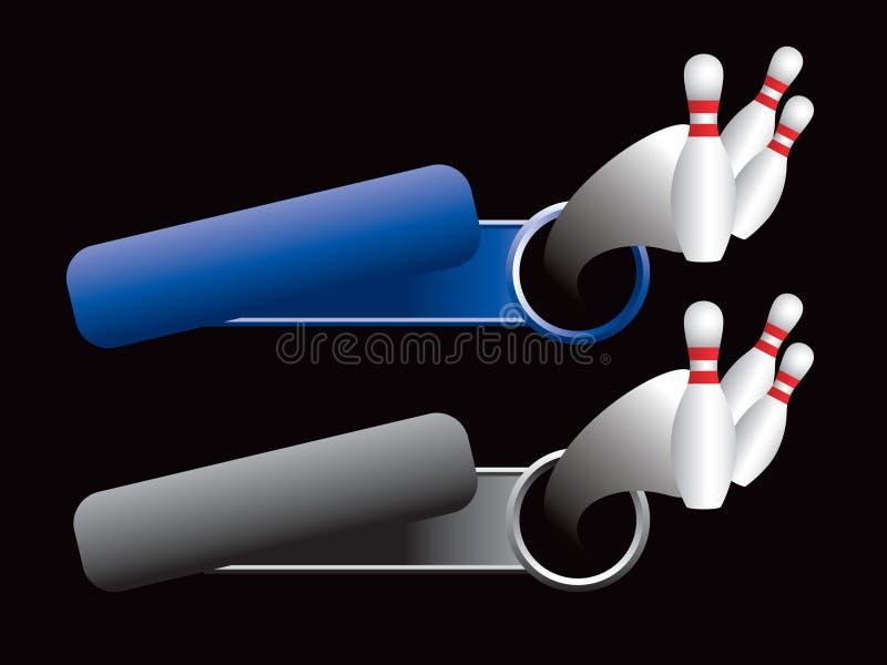 Bowlingspielstifte von den blauen und grauen gekippten Fahnen lizenzfreie abbildung