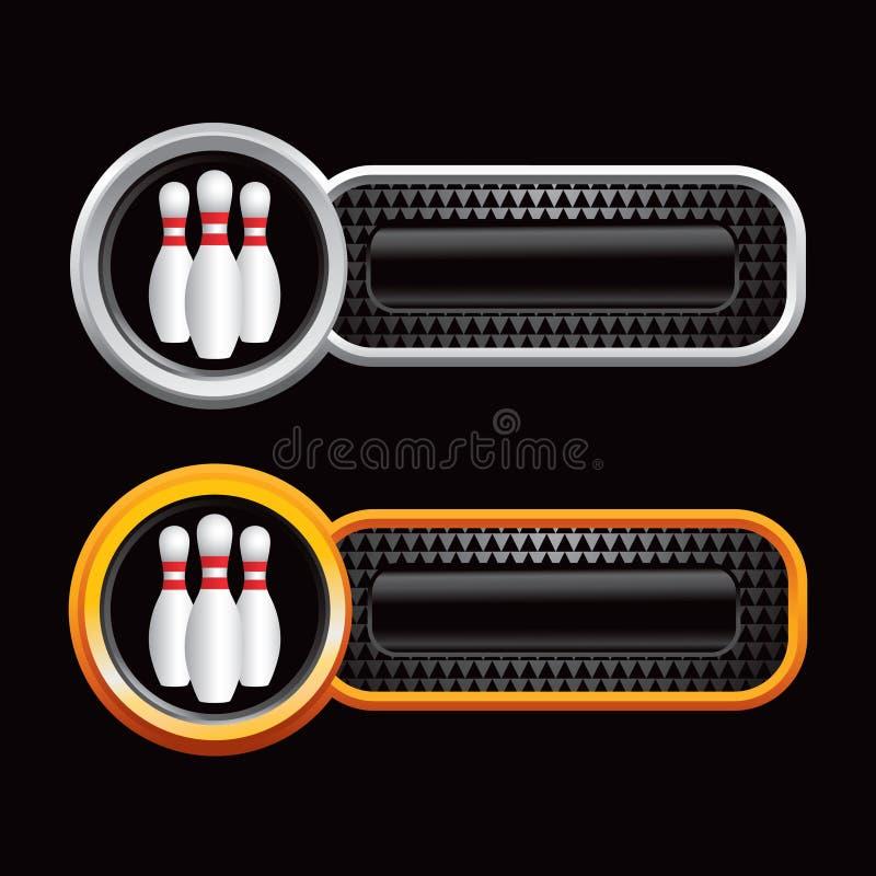 Bowlingspielstifte von den schwarzen checkered Fahnen stock abbildung