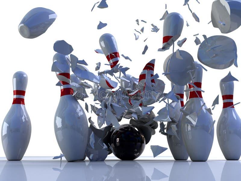 Bowlingspielstifte zerstört stockbilder