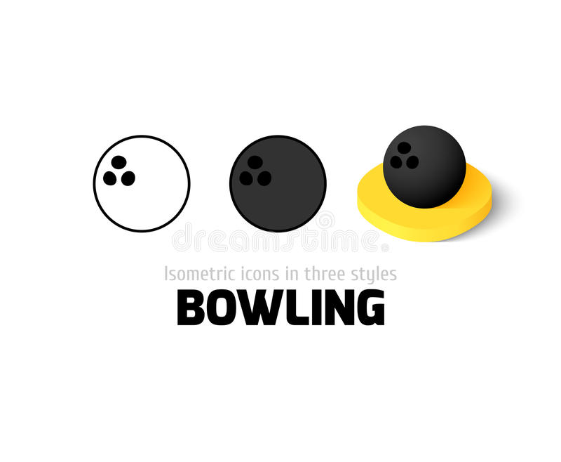 Bowlingsymbol i olik stil stock illustrationer