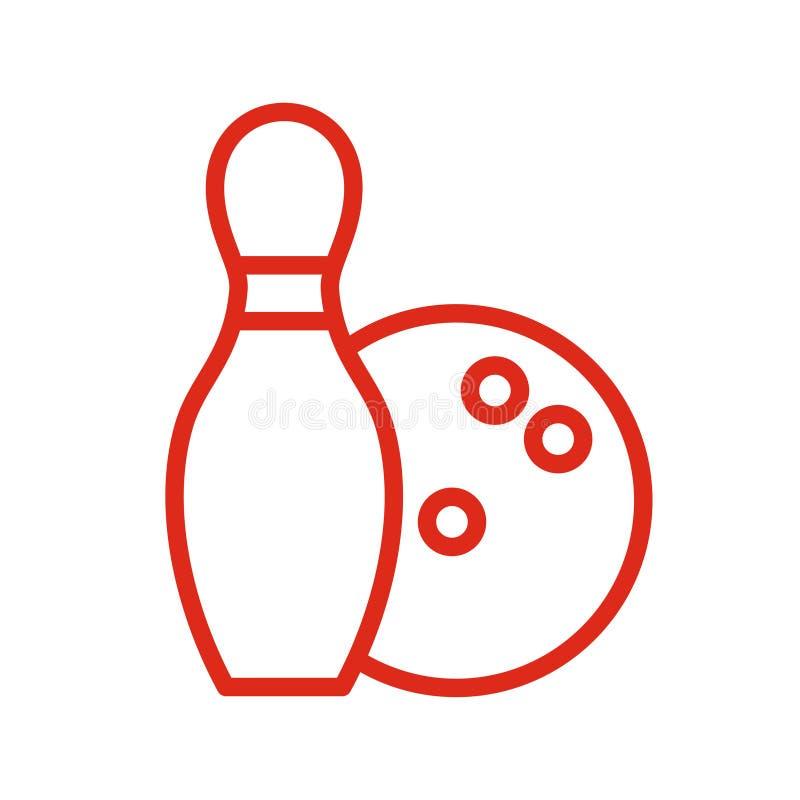 Bowlingsymbolslinje stil vektor illustrationer
