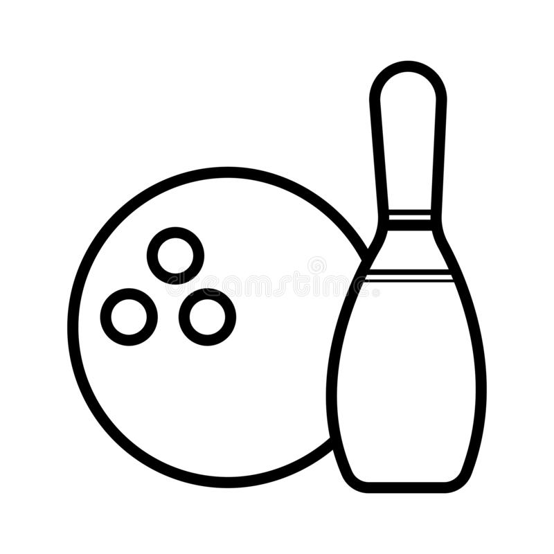 Bowlingsymbolsvektor stock illustrationer