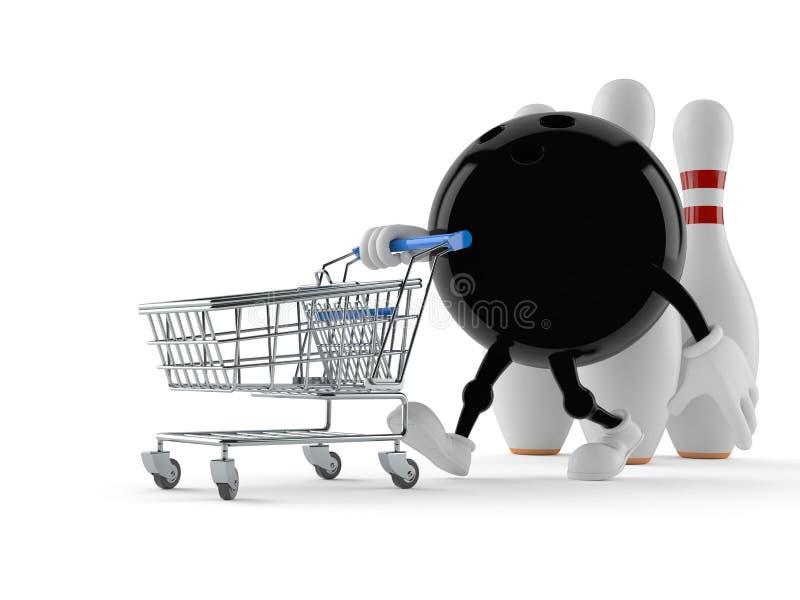 Bowlingtecken med shoppingvagnen royaltyfri illustrationer