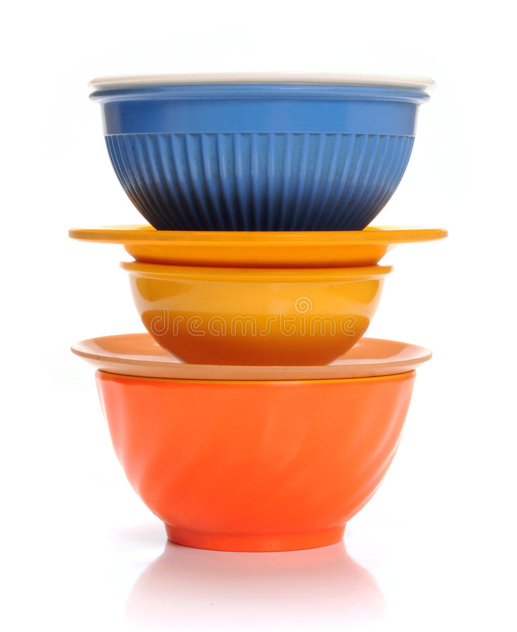 Bowls. Stack of bowls and plates on isolated background royalty free stock photos