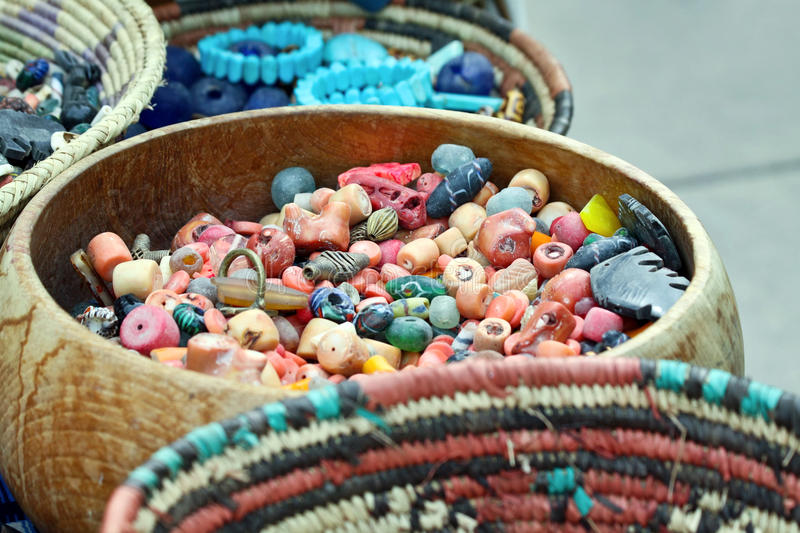 Bowls of Beads. Bowls and baskets filled with beads stock images