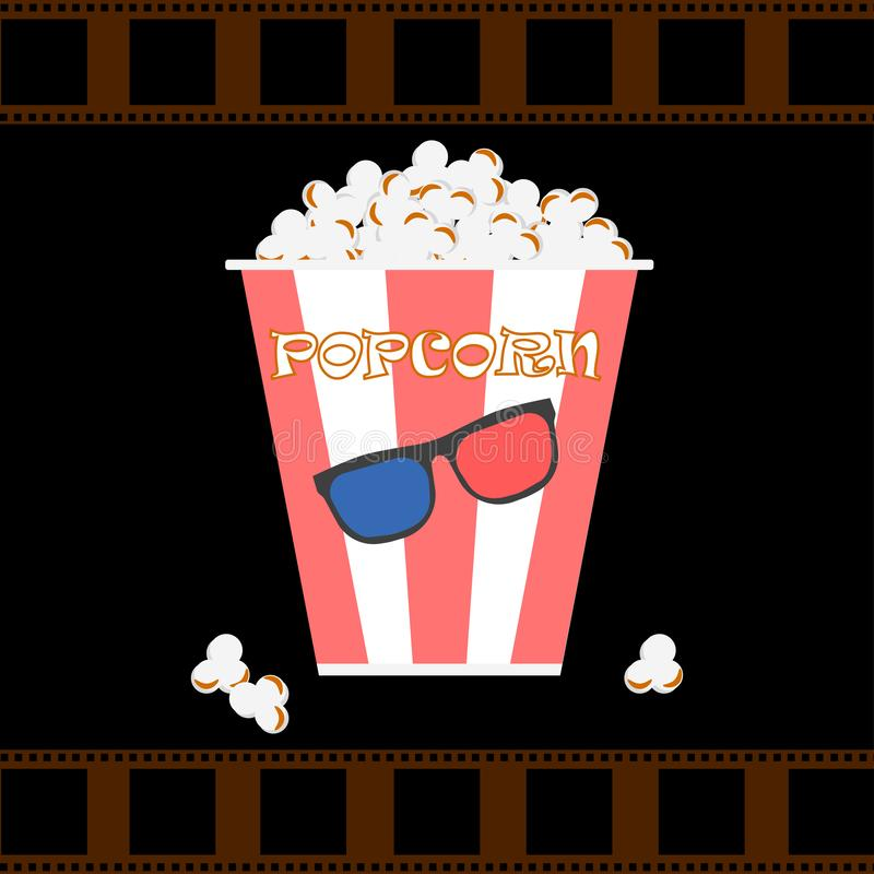 Bowls, box of popcorn with 3d glasses, filmstrip isolated on background. Movies, cinema theater, film concept. Vector flar design.  stock illustration