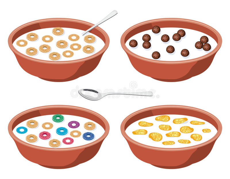 Bowls with breakfast cereal in milk, vector. Set of bowls with breakfast cereal in milk, vector stock illustration