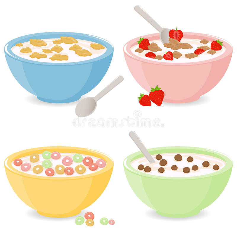 Bowls of breakfast cereal royalty free illustration