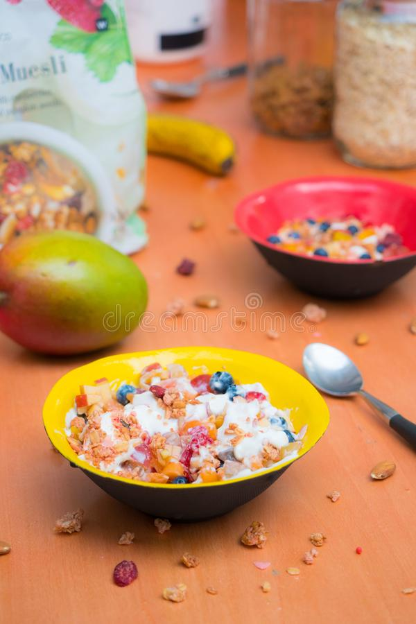 bowls of cereals on a table royalty free stock photography