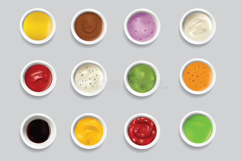 Bowls dip bowl sauces gravy dressing top view spicy food ingredient condiment delicious flavor seasoning spice vector. Bowls of various dip bowl sauces gravy royalty free illustration