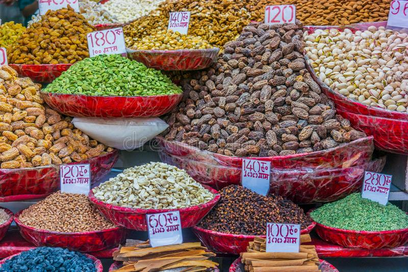 Spices at the spice market in Old Delhi, India. royalty free stock images