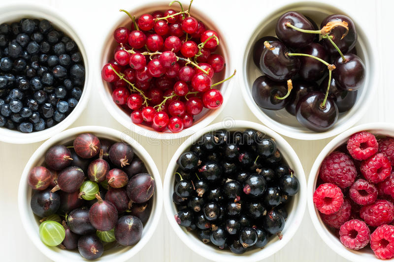 Bowls with fresh ripe gooseberry, red currant, black currant, raspberry, blueberry and cherry stock photo