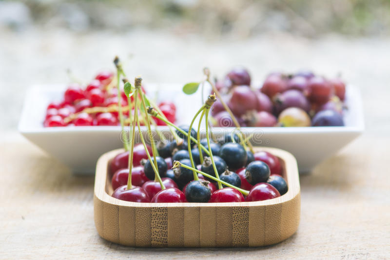 Bowls full of various fruits royalty free stock images