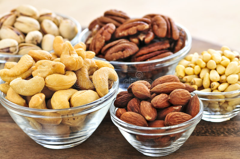 Bowls Of Nuts Royalty Free Stock Photography