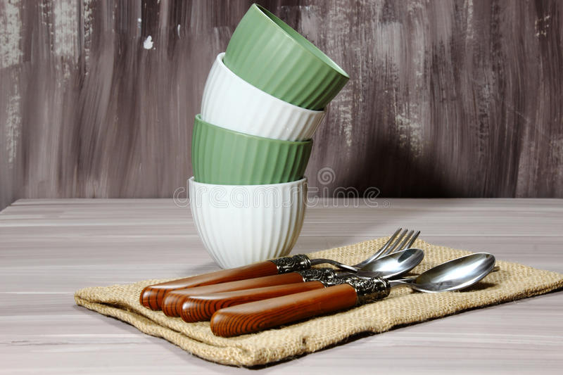 Download Bowls and silverware stock image. Image of cutlery, holiday - 87872451