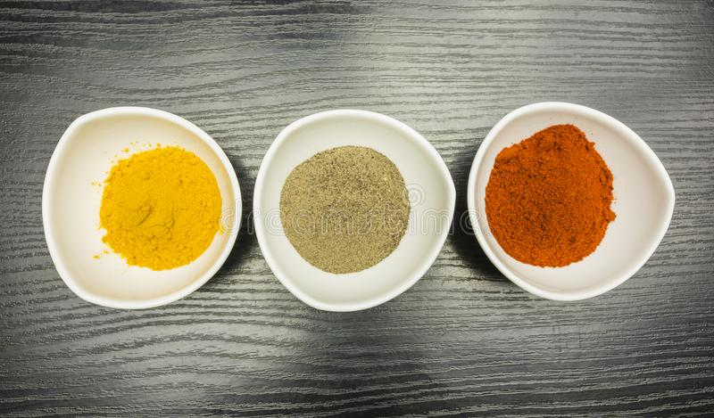 Bowls with spices. View from above. royalty free stock photography
