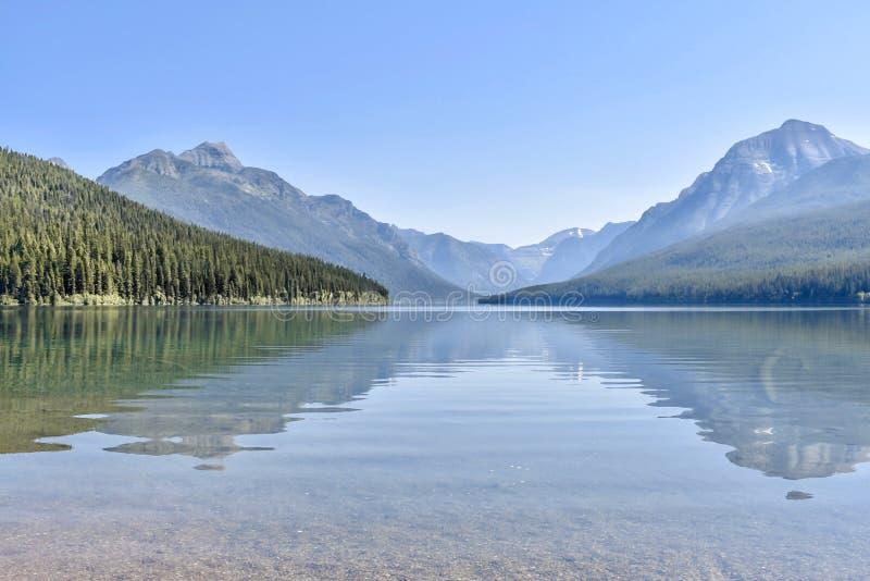 Bowman Lake Glacier National Park, Montana stock photo